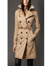 Burberry Metallic Leather Detail Gabardine Trench Coat - Lyst