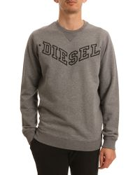 Diesel Bansi Logo Marl Grey Sweater - Lyst