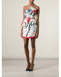 Moschino Logo Print Strapless Dress - Lyst