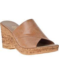 Onex For Jildor Christina Wedge Sandal Beige Leather - Lyst