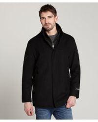 T-Tech By Tumi | Black Wool Blend Inner Zip Coat | Lyst