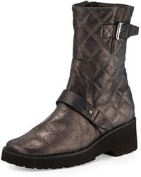 Anyi Lu Adrian Metallic Quilted Boot - Lyst