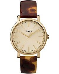 Timex® Women'S Premium Originals Tortoise Patent Leather Strap 38Mm T2P237Ab - Lyst
