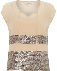 Linea Weekend Sequin Stripe Top - Lyst