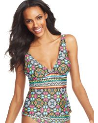 Kenneth Cole Reaction Exoticprint Tankini Top - Lyst
