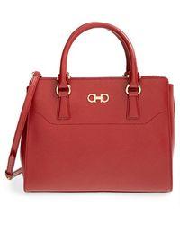 Ferragamo 'Small Beky' Saffiano Leather Tote red - Lyst