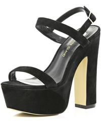 River Island Black Block Heel Barely There Sandals - Lyst