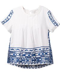 Sea Embroidered Short-Sleeved Blouse - Lyst
