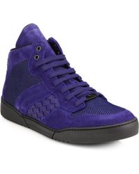 Bottega Veneta Suede Mesh Hightop Sneakers - Lyst