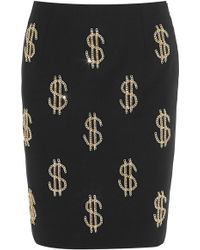 Moschino Dollar Sign Chain-embellished Crepe Skirt - Lyst
