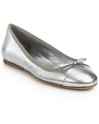 Prada Metallic Leather Ballet Flats - Lyst