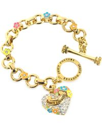 Juicy Couture - Pave Heart and Flower Charm Bracelet - Lyst