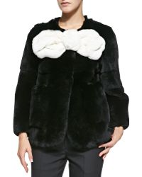 Marc Jacobs Rabbit Fur Jacket With Large Bow black - Lyst