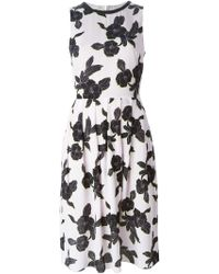 Paul Smith Black Label Floral Print Pleated Dress - Lyst