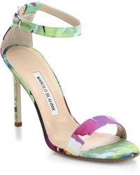 Manolo Blahnik Chaos Floral Satin Ankle-Strap Sandals - Lyst
