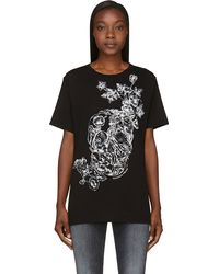Alexander McQueen Black Floral Skull T_shirt - Lyst