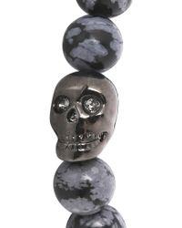 Simon Carter - Grey Beaded Skull Bracelet - Lyst