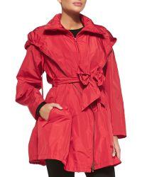 Donna Karan New York Packable Front-zip Anorak W Bow Belt - Lyst