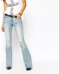 Blank - Flared Jeans With Raw Hem And Distressing - Lyst