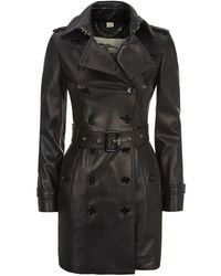 Burberry London The Sandringham Mid-Length Leather Trench Coat - Lyst