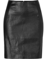 McQ by Alexander McQueen Embossed Leather Skirt - Lyst