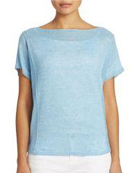 Eileen Fisher Short Sleeve Linen Sweater - Lyst