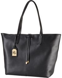 Lauren by Ralph Lauren Leather Two-Toned Tote - Lyst
