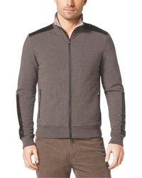 Michael Kors Leather-Trim Stretch-Cotton Jacket - Lyst