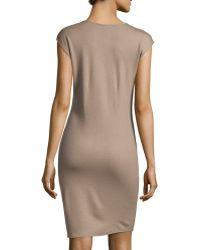 Halston Heritage Cap-Sleeve V-Neck Wool-Knit Wrap Dress brown - Lyst