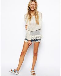 Asos Crochet Top with Lace Hem - Lyst