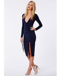 Missguided Chelsi Side Split Slinky Midi Dress Navy - Lyst