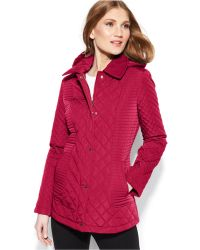 Calvin Klein Hooded Mixed-Quilt Jacket - Lyst