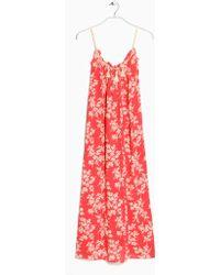Mango Floral Long Dress - Lyst