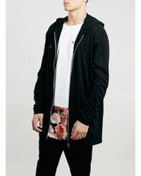 Topman Black Longer Length Zip Through Jersey Hoody - Lyst