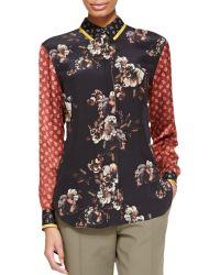 Jason Wu Long-Sleeve Floral/Paisley Silk Blouse - Lyst