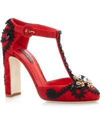 Dolce & Gabbana Red Jacquard T-strap Pump - Lyst