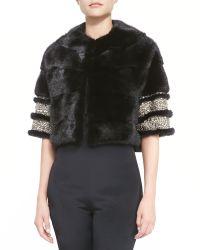 Monique Lhuillier - Mink Fur Bolero Jacket with Beaded Cuffs - Lyst