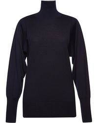 Vionnet Long Sleeve High Neck Merino Sweater - Lyst
