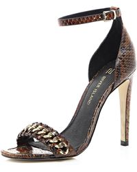 River Island Brown Snake Print Chain Barely There Sandals - Lyst