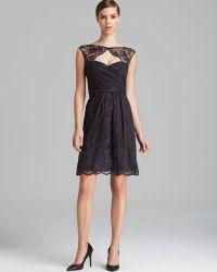 Amsale - Dress Cap Sleeve Cutout Front Open Back Lace - Lyst