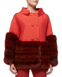 Carolina Herrera Furtrim Swing Coat Cropped Stretch Wool Straightleg Pants - Lyst
