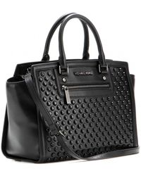 Michael by Michael Kors Selma Studembellished Leather Tote - Lyst