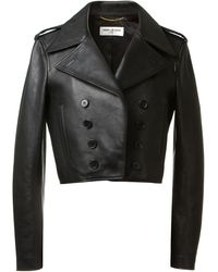 Saint Laurent Black Leather Jacket - Lyst