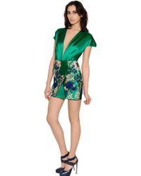 Blumarine Embroidered Silk Blend Duchesse Dress - Lyst
