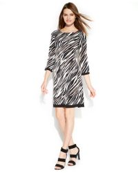 Calvin Klein Three-quarter-sleeve Printed Shift Dress - Lyst