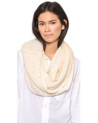 Alice + Olivia Alice  Olivia Imitation Pearl Knit Infinity Scarf - Cream - Lyst