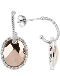 Charriol Gold Facet 18K Faceted Rose Gold And White Gold 0.26Ct Diamonds Dangle Earrings - Lyst