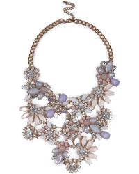 River Island Gold Tone Pink Flower Statement Necklace - Lyst