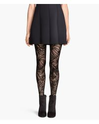H&M Black Lace Tights - Lyst