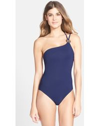 Tory Burch One-Shoulder Maillot - Lyst